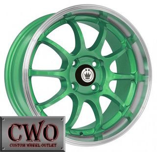 15 Green Konig Lightning Wheels Rims 4x100 4 Lug Civic Mini Cobalt XB
