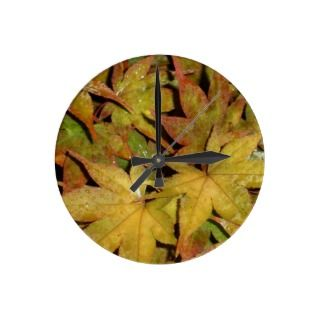 Yellow Leaves on the Japanese Maple Tree Photo Round Wall Clock