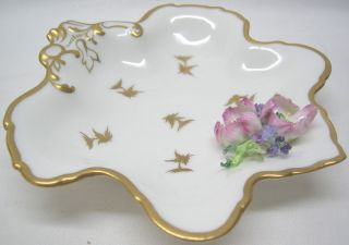 DERBY Leaf Shaped Pin Dish with applied Flowers + Gold Rim Vintage