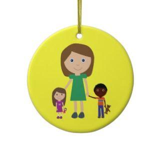 Worlds Best Kindergarten Teacher Cute Cartoon Christmas Ornament