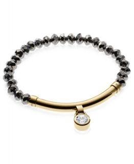 Michael Kors Bracelet, Gold Tone Hematite Bead Crystal Bracelet