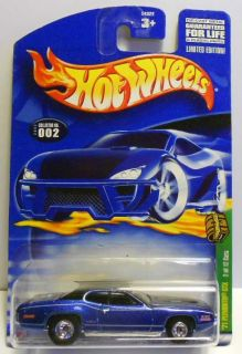 HOT WHEELS 2002 TREASURE HUNT #2 71 PLYMOUNTH GTX BLUE W/RRS MINT ON