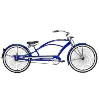 26 Stretch Beach Cruiser Bike Bicycle 68 Spokes Blue Mustang
