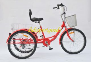 Adult Tricycle Bicycle 6 Speed Trike 3 Wheels Black Blue Red
