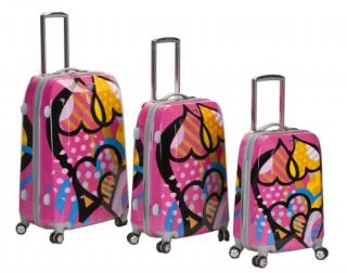Rockland Luggage Vision Polycarbonate 3 PC Luggage Set Love 20 24 28