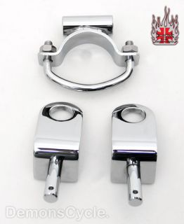 Solo Seat Chrome Mounting Brackets Kit for 74 Harley