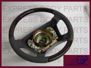 Mercedes Benz Steering Wheel Leather Wood W140 Gray Grey Dark Burl