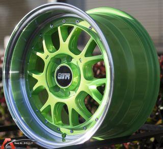 15x8 5 Str 502 4x114 3 Green Machined Lip Wheel Fit Datsun 240Z 260z