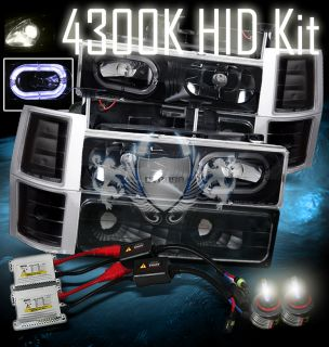 4300K Slim HID 94 98 Chevy Full Size Truck Halo Ring Black BLK