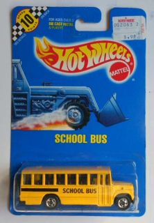 Hot Wheels Blue Card 72 School Bus Yellow w BWs Mint on Card