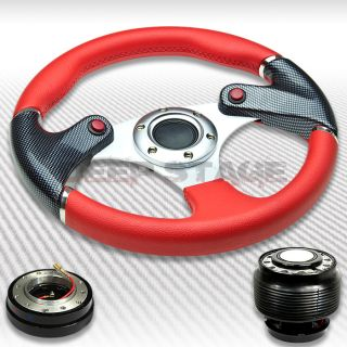 320mm Steering Wheel Red Carbon w NOS Button Hub Quick Release Civic