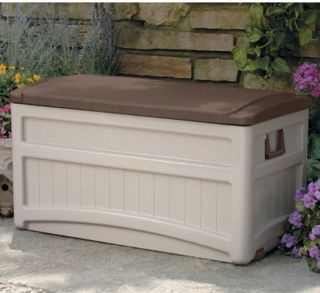 New Big Large Suncast 73 Gallon Patio Deck Storage Box Seat Top