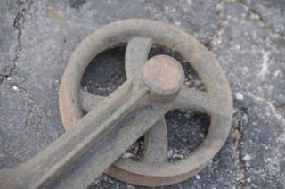 Antique Cast Iron Spoke Barn Door Rollers Track Vintage Architectural