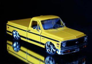 1972 Chevy Cheyenne Pickup Dub City Diecast 1 24 Yellow