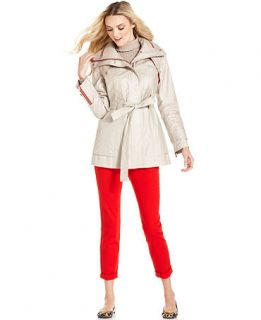 Calvin Klein Coat, Funnel Neck Hooded Belted Raincoat   Womens Coats