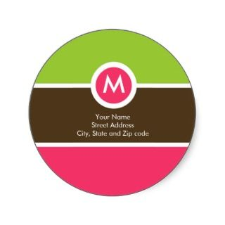 Monogram Return Address Label   Green, Pink, Brown Round Stickers