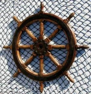 Large Rustic Nautical Antique Wood Brass Ships Wheel 40