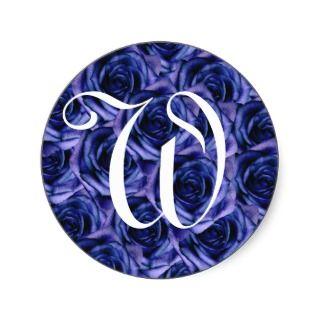 Monogram Letter W Blue Roses Sticker