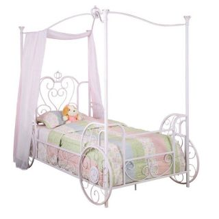 Princess Emily Carriage Canopy Bed with Bed Frame Twin Size