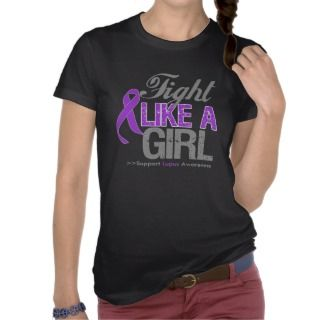 Lupus Ribbon   Fight Like a Girl T Shirt
