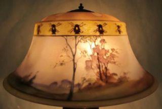 Stunning C 1900 Pairpoint Reverse Painted Scenic Lamp