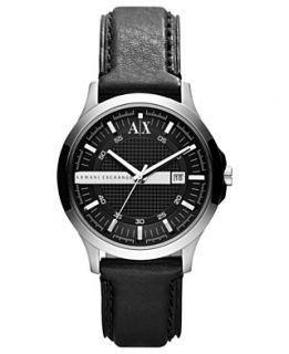 Armani Exchange Watch, Mens Black Leather Strap 40mm AX2126
