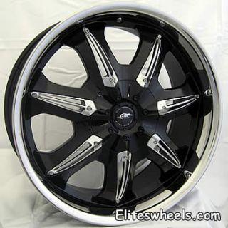 18x8 Black JR Hustler Wheels 5x115 +40 CADILLAC SEVILLE EL DORADO DTX