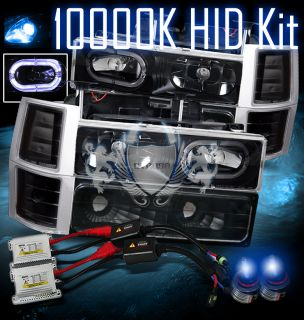 10000K Slim HID 94 98 Chevy Full Size Truck Halo Ring Black BLK
