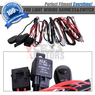 Fit Universal Fog Lights Wiring Harness Kit Fog Lamps Switch