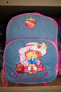 Strawberry Shortcake Blue Rolling Backpack School Bag