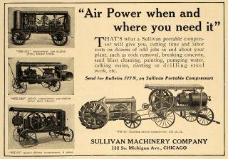 1924 Ad Sullivan Machinery Compressor Gas Engine Truck   ORIGINAL