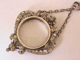 Antique Art Nouveau Silver Paste Double Sided Locket Pendant Necklace