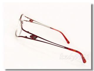 Burgundy Metal Acetate Full Rim Optical Eyeglass Frame Womens Glasses