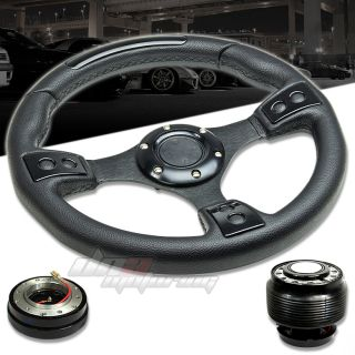 3pc Combo Quick Release Hub T380 Black 320mm Racing Steering Wheel