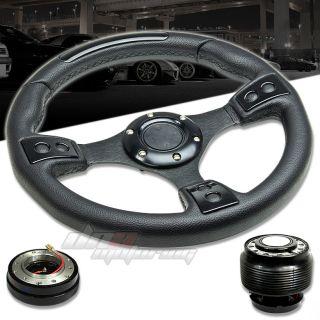 3pc Combo Quick Release Hub T380 Black 320mm Racing Steering Wheel