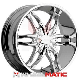 of 4 New 24 Viscera 778 5x114.3/127 +35 Wheels Rims Chrome & Black