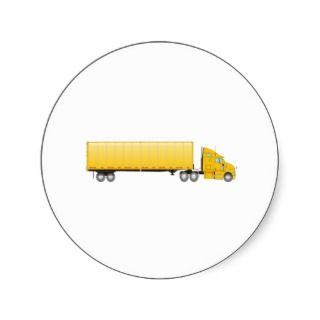 Semi Truck Trailer yellow Round Stickers