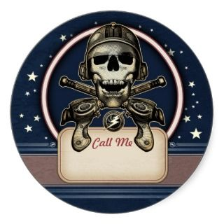 Space Pirate with Ray Guns Name Tag Stickers