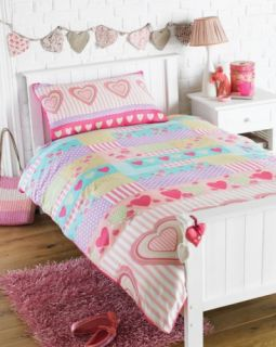 Love Hearts Rotary Single Bed Duvet Quilt Cover Set Brand New Gift