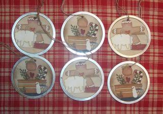 Primitive Christmas Hang Tags Gingerbread Men Cinnamon 6 Grungy STPC