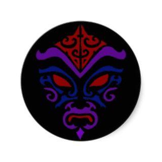Tribal Tattoo Style Goth Dark Kabuki Mask Stickers
