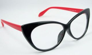 New Eyeglass Eyewear Large Red Lens Vintage Black Frame Spectacle