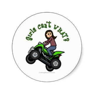 Light ATV  Four Wheeling Girl Round Sticker