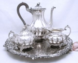 Beautiful Community Silver Melon Pattern 4pc Tea Set with Fancy Footed