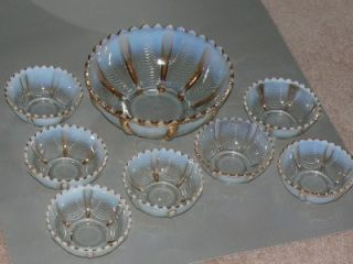EAPG Norhwood Drapery Glass Opalescen Berry Bowl Se