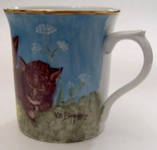 Hand Painted Cats Kittens Flowers Blue Sky Ceramic Coffee Cup Mug