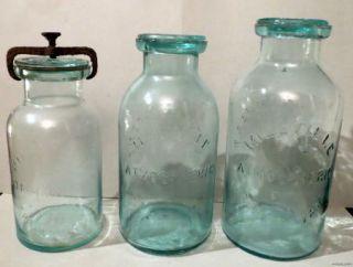 MILLVILLE ATMOSPHERIC WHITALLS PATENT 1861 FRUIT JAR W/ CAST IRON