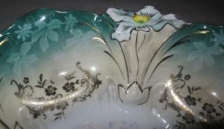 RS Prussia Bowl with Green Rim and Hand Painted Flower Center
