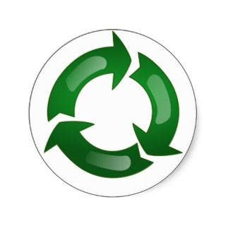 Green Glassy Recycle Symbol Round Sticker