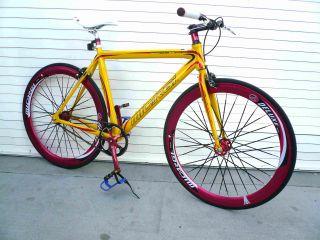 Alloy Road Bike 48 cm w Deep 50cm Rim Flat Bladed Spokes Yellow